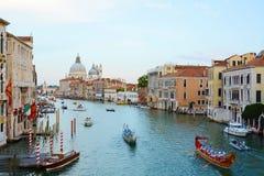 Colorful ships open the Regata Storica, Venice. Colorful ships on the Grand Canal open the water parade, Regata Storica, in Venice, Italy, Europe Stock Image