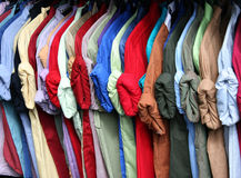 Colorful shirt rack on hanger Stock Images