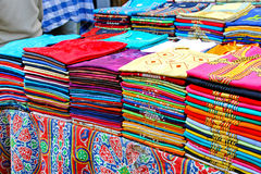 Colorful shirts. Colorful organic cotton shirts sold in Cairo market Royalty Free Stock Photos