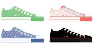 Colorful shoe illustrations. A collection of four colorful illustrations of casual shoes Royalty Free Stock Photos