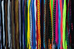 Shoe laces colorful for sale. Shoe laces to get up an article for sale Stock Image