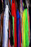 Colorful shoelaces. Background of colorful shoelaces,in street open market Royalty Free Stock Photos