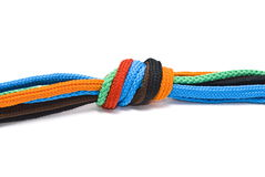 Colorful shoelaces knot Stock Photos