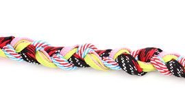 Colorful shoelaces in pigtail Royalty Free Stock Image