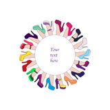 Colorful shoes circle frame. For your text Royalty Free Stock Photos