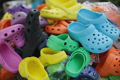 Colorful Shoes In Flea Market Royalty Free Stock Photo