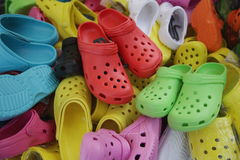 Colorful Shoes In Flea Market Stock Images