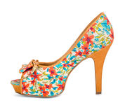 Colorful shoes with floral print Royalty Free Stock Photo