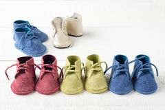 Colorful shoes in the row stock photo