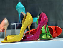 Colorful shoes. Shoes shop,colorful summer shoes with high heels Royalty Free Stock Photos