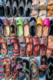 Colorful shoes. A top view shot of colorful handcrafted shoes taken in the streets of Jaipur, India Stock Images
