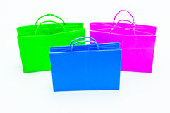 Colorful of shopping bag. Isolated on white Stock Images