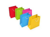 Colorful shopping bags. Stand on white background Stock Photo