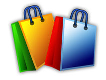 Colorful shopping bags. Illustration of two colorful shopping bags isolated on white background Stock Photos