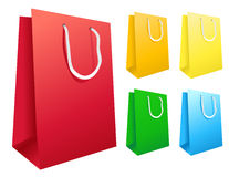 Colorful Shopping Bags. Are standing upright isolated on a white background Royalty Free Stock Images