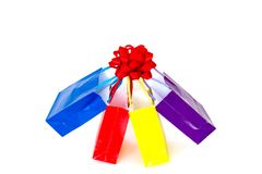 Colorful shopping bags with bow Stock Photos