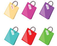 Colorful shopping bags collection, vector Royalty Free Stock Photos