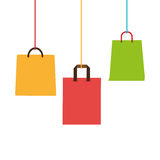 Colorful Shopping bags hanging icon design Stock Photos