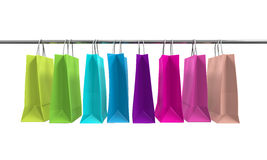 Colorful Shopping Bags. Isolated on white background. 3D render stock illustration