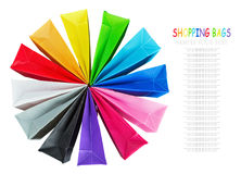 Colorful shopping bags isolated on white Stock Photos