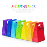 Colorful shopping bags isolated on white background Stock Images