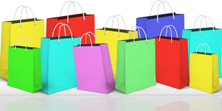 Online Shopping Banner With Bags And Icons Stock Photo - Image ...