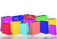 Colorful shopping bags. The Shopping panorama.Background with the set colorful shopping bags Stock Images