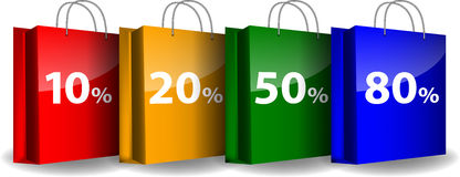 Colorful shopping bags with the sale percents. Vector illustration stock illustration