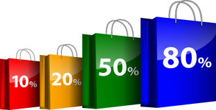 Colorful shopping bags with the sale percents Royalty Free Stock Images