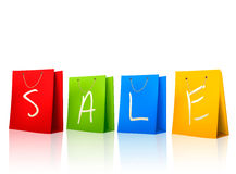Colorful shopping bags with SALE on them. Concept  Stock Photo