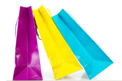 Colorful shopping bags on white background. Some colorful shopping bags on white background Stock Photos