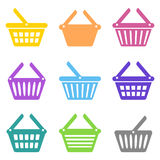 Colorful shopping basket icons Stock Photo