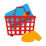 Colorful shopping cart with coins and credit card Stock Photo