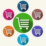 Colorful shopping cart icons on white. Colorful shopping cart icons buttons on white background - vector illustration Royalty Free Stock Photos