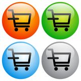 Shopping cart icons buttons on white Royalty Free Stock Photo