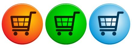 Shopping cart icons buttons on white Royalty Free Stock Images