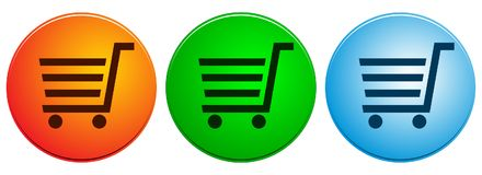 Shopping cart icons buttons on white Royalty Free Stock Photos