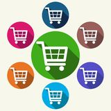 Colorful shopping cart icons on white Stock Photography