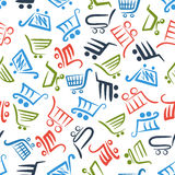 Colorful shopping carts seamless pattern Stock Photos
