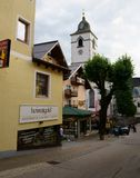 Colorful shopping district in St Wolfgang, Austria royalty free stock images