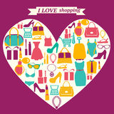 Colorful shopping icons in heart shape. I love shopping Royalty Free Stock Photo