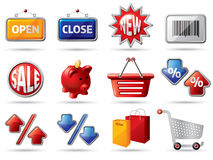 Colorful shopping icons Stock Photo