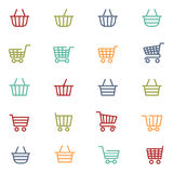 Colorful shopping thin line baskets Royalty Free Stock Photos