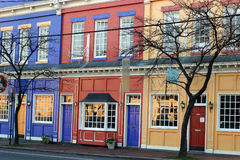 Colorful shops. Colorful store fronts Stock Photos
