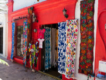 Colorful shops in small town Mexico. Colorful art shops in small town Mexico waiting for American tourists for business Stock Photography