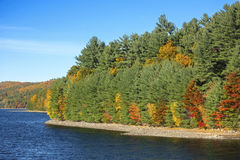 Colorful shoreline of Barkhamsted Reservoir in October. Royalty Free Stock Photography