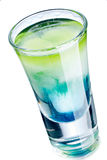 Colorful shot drink. Colorful alcoholic cocktail in a shot glass Royalty Free Stock Photos