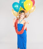 Colorful shot of teen girl with balloons Stock Image