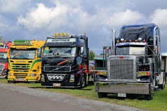 Colorful Show Trucks in a Row Stock Images