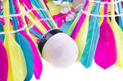 Colorful shuttlecock. On white background Stock Image